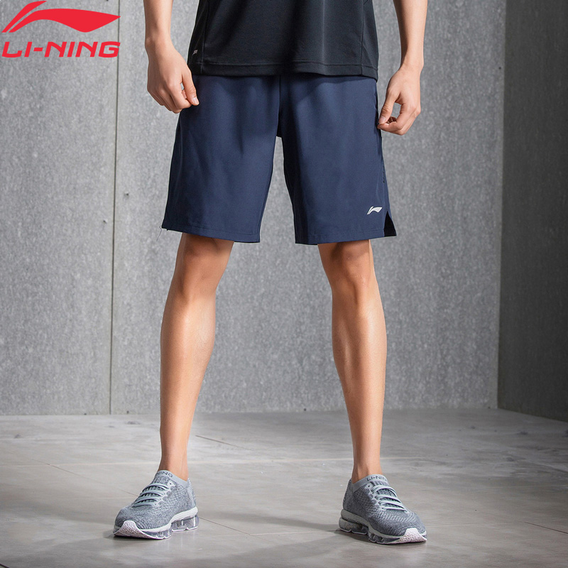 Li-Ning Men Training Shorts Gym Polyester Comfort Fitness AT DRY Brearthable Lining Li Ning Sports Sweat Shorts AKSN079 MKY359