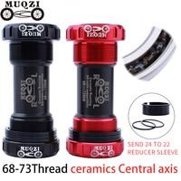 MUQZI Ceramic Bearing Bottom Bracket Parts BB68 73mm Central axis Thread formula for Shimano SRAM crankset Mountain Bike Road