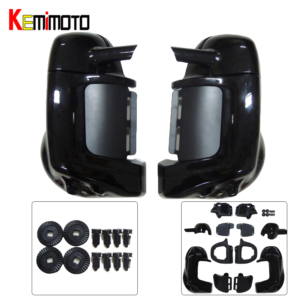 For Harley Touring FLHRC Painted Vivid Black Lower Vented Leg Fairing Gloves Box Hardware HD Road King 1983-2012 vivid black lower vented fairing leg warmer for 2014 2015 2016 2017 harley touring