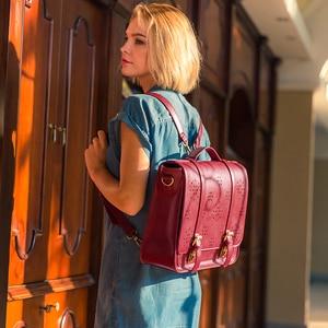 Image 5 - ECOSUSI 15.3 Inch PU Leather Bags Women Loptop Bags Retro Messenger Bags Famous Designer Shoulder Bag Hollow School Bag Travel