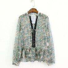 4330c8dd5fe67e Neue frauen fashion floral print wildleder patchwork saum rüschen casual  kittel hemd bluse frauen chic chiffon blusas süße tops .