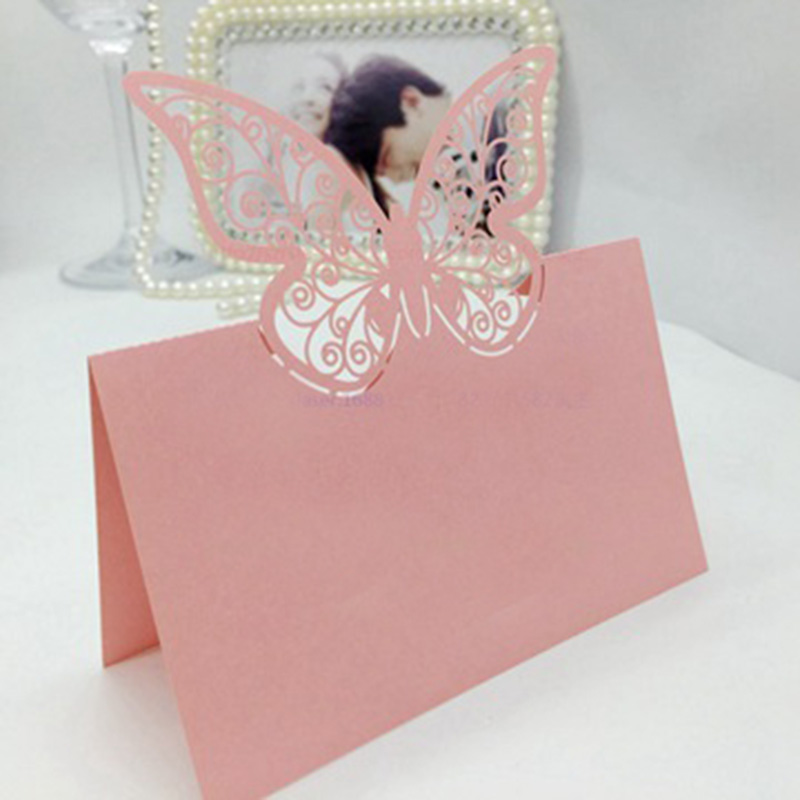 100 шт., бумажная огранка, бабочка лазер, вырезание, место, карты, имя, таблица, знак, свадьба, вечеринка, украшение, приглашения любезности - Цвет: Pink
