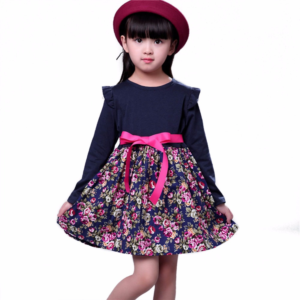 Summer Baby Kids Dresses Children Girls Long Sleeve Floral Princess Dress Spring Girls Floral Print Dresses With Bow Tie Dress