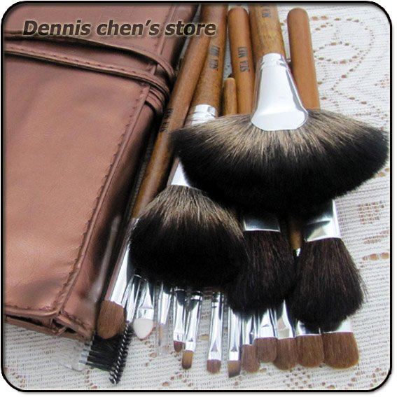 18 Pieces Professional High quality Makeup Brush set cosmetic brushes Make up brush kit Free Shipping Wholesale high quality 7 makeup brush set kit in sleek berry red leather bag make up portable brushes free shipping