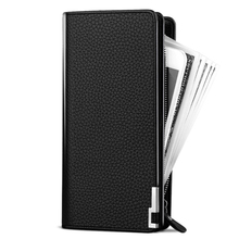 Fashion Men's Wallet with Strap Men Purse Zipper Bussiness Clutch Wallet Large Capacity Phone Bag Long Passport Travel Wallet