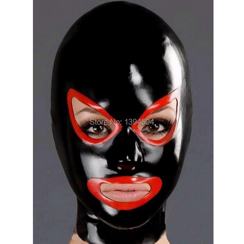 baru wanita eksotik panas hitam disambungkan Tudung lateks wanita mata terbuka & topeng mulut disesuaikan tangan Hot teddy babydoll