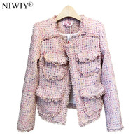 NIWIY Brand Luxury Pearl Tweed Pink bomber Jacket Abrigos Mujer Invierno 2018 Autumn Women Tassel Gothic Jacket Outerwear N9426