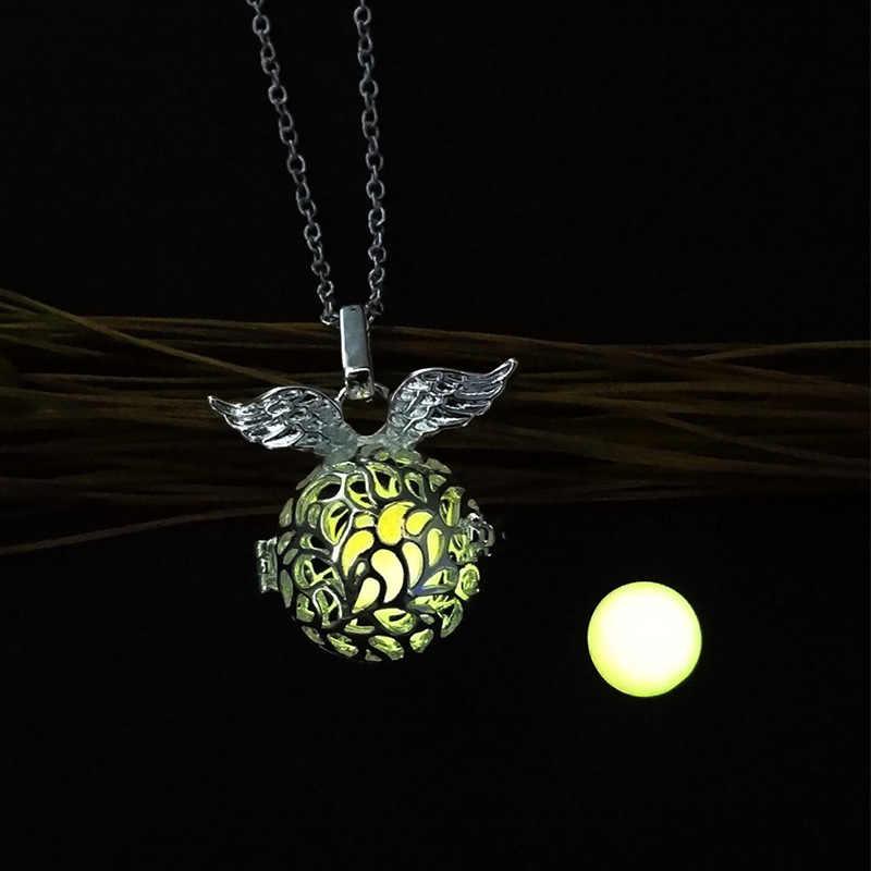 Alas de Ángel creativas bola hueca colgante collar luminoso para Mujeres Hombres brillan en la oscuridad joyería de moda