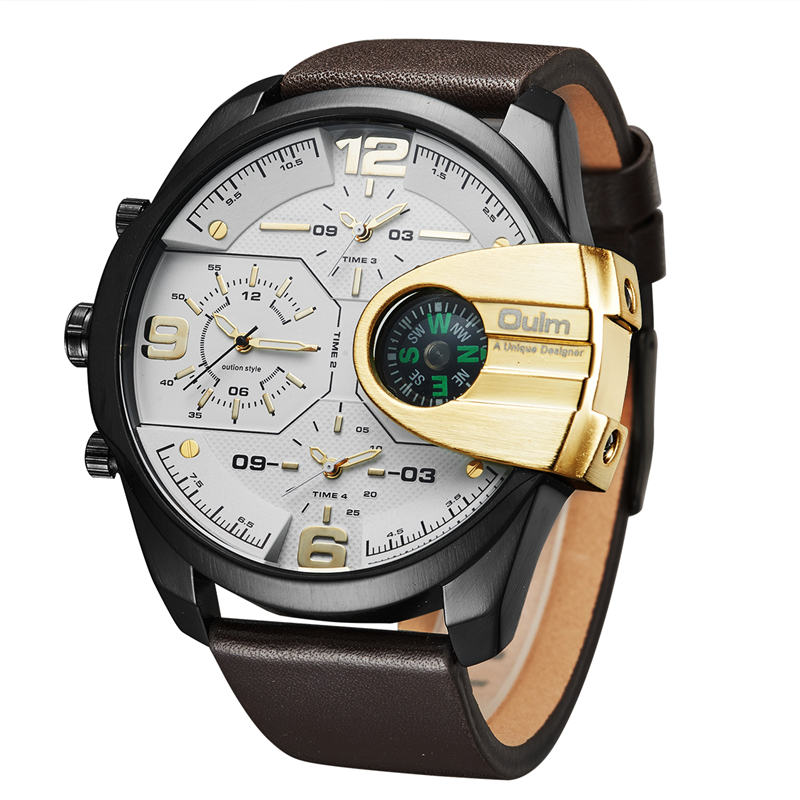 Mens Watches Top Brand Luxury Military Quartz Sport Watch Oulm Unique 3 Small Dials Leather Strap Male Wristwatch Relojes Hombre mens watches oulm brand luxury military quartz watch unique 3 small dials leather