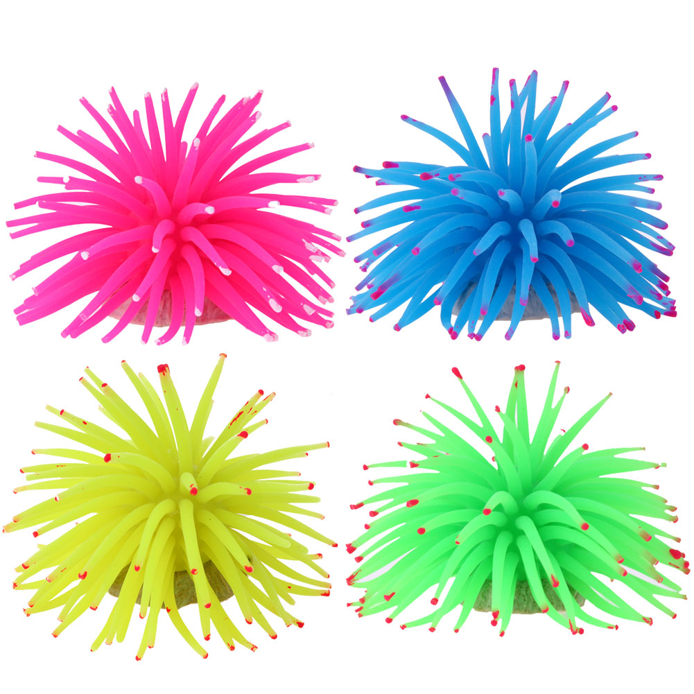 4 Colors Silicone Imitation Sea Urchin Coral Ornaments Aquarium Decorations Fish Tank Decor Aquarium Background Accessories