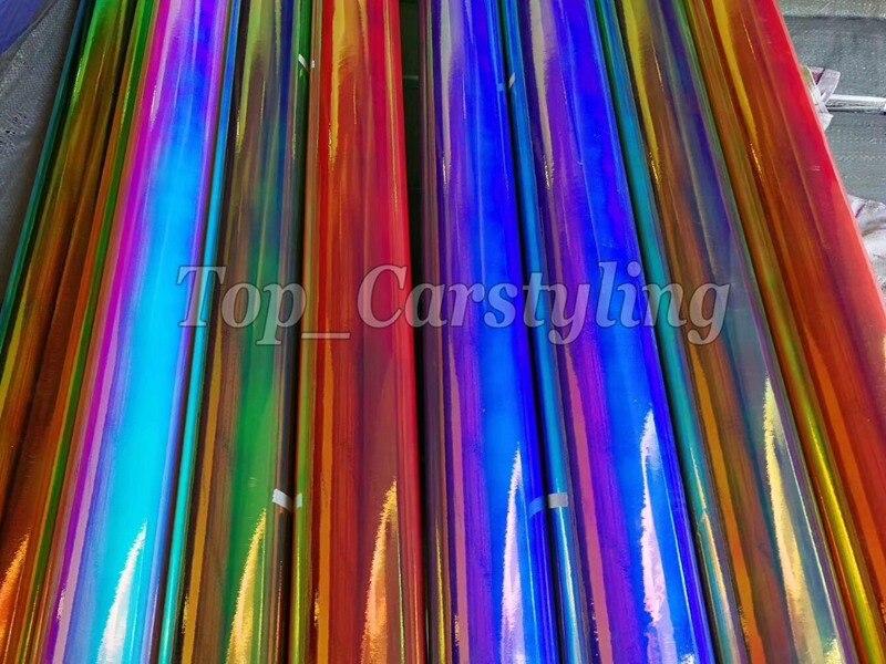 Brillant miroir arc-en-ciel Film holographique chrome housse de voiture en vinyle avec Air sans bulle protwrap couvrant feuille 1.35x20 m