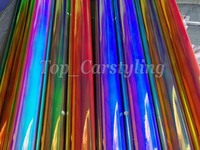 Gloss Mirror Rainbow Holographic Film chrome vinyl car wrap With Air bubble free PROTWRAPS Covering foil 1.35x20m
