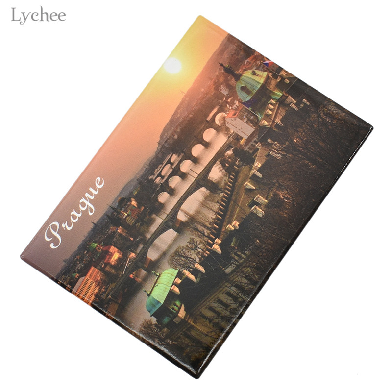 Lychee City In The Sunset Prague Fridge Magnet Magnetic Refrigerator Stickers Kids Gifts Party Favor