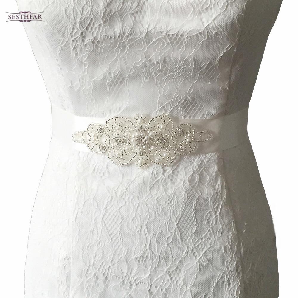 Schön Hochzeitskleid Schärpen Mit Kristallen Galerie - Brautkleider ...