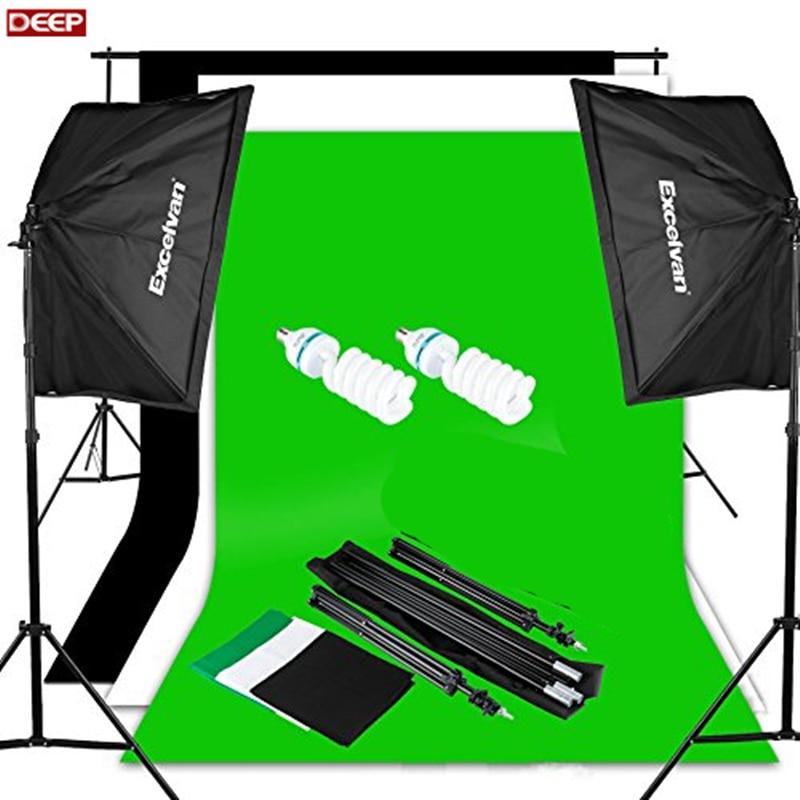 DHL TNT Photography Video Studio Lighting Kit 1250W Soft Box W 3 Background Backdrop White Black