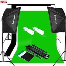DHL TNT Fotografia Studio Wideo Zestaw Oświetleniowy (1250 W Miękkie Box) W/3 Tło (biały Czarny Zielony) 3*2 M Światło Stojak