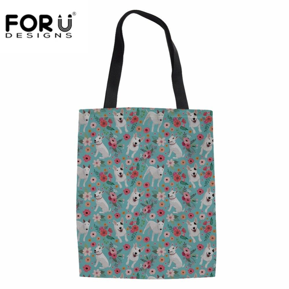 Bull Terrier Prints Canvas Tote Bag Fabric Cloth Reusable Shopping Bag Large Beach Handbags Grocery Bags