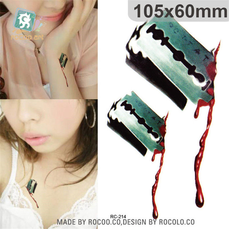 Halloween Waterproof Temporary Tattoos Paper For Men Women 3d Reality Blood Scar Design Tattoo Sticker RC2214