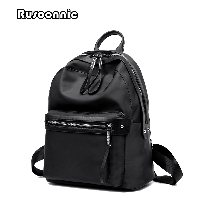 Rusoonnic Women Backpack Oxford Black Backpacks Back To School Bags For Girls Mochila Feminina Bagpack fashion free shipping just hype pattern back to school backpack mochila batoh plecak