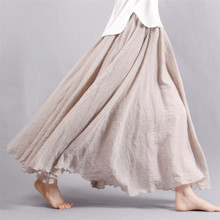Women Linen Cotton Long Skirt Pleated Skirt  Elastic Waist Maxi Skirts Beach Boho Vintage Summer Skirts Saia Faldas