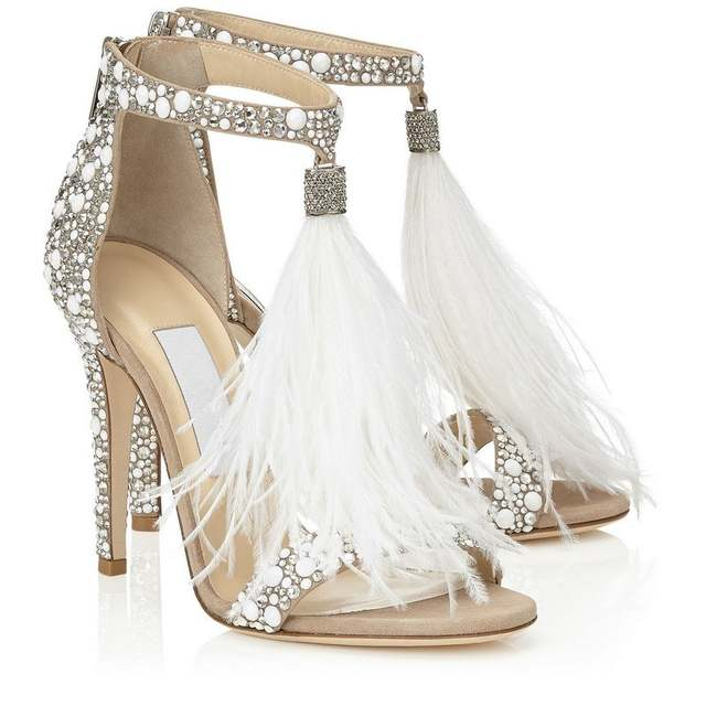 e141610c77 Bling bling bridal wedding shoes glitter rhinestone embellished feather  tassel high heels sexy peep toe crystal sandals woman