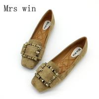 Mrs Win Woman Flats Shoes Slip On Women Square Toe Single Shoes Crystal Ladies Shoes Soft