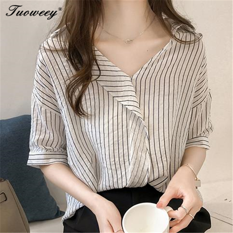 2018 Women Striped Blouse Shirt Casual Loose Shirt Plus Size 4xl Summer Autumn Half Sleeve Office Ladies Clothing Tops
