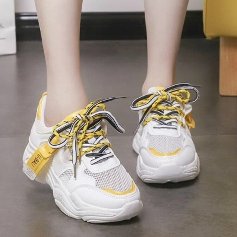 2020 Summer Pantshoes Comfy Breathable Mesh Trainers Chunky Heels Women's Platform Sneakers Shoes Woman Casual Female Shoes W208