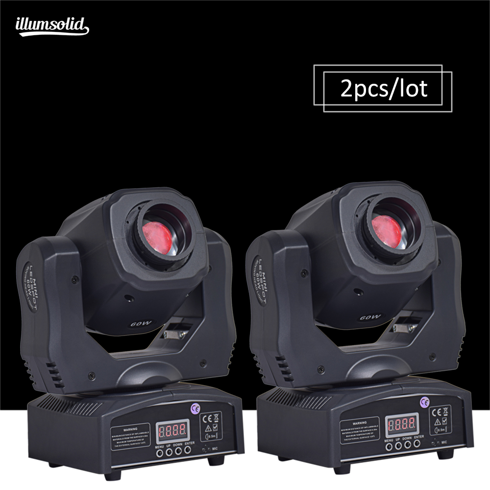 (2 pièces/lot) mobile 60w LED tête mobile gobo lumière LED dmx 512 contrôle mini dj diso têtes mobiles 60w