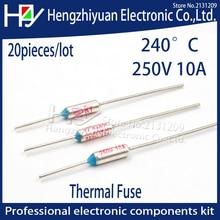цены на 20pcs/lot 2017 Hot SF240E TF 240 Celsius Circuit Cut Off Thermal Fuse 250V 10A Thermal links Micro Mini Electrical Temp  в интернет-магазинах