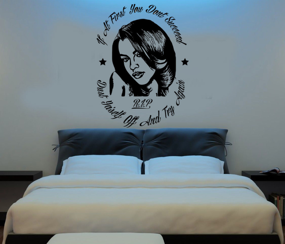 Aaliyah R&B Star DIY Wall Art Sticker/Decal With Quote Singer Star Wall Stickers For Teens Bedroom Boy Bedroom Mural A233