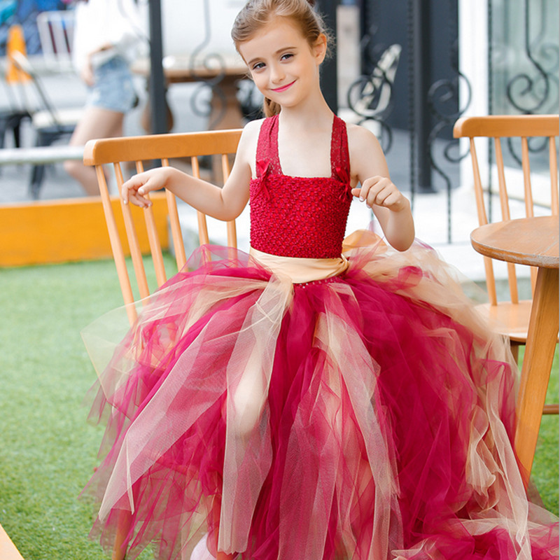Long Train Tail Girls Lace Tulle Evening Gown Tutu Dress Kids Elegant Party Christmas Performance Birthday Dresses Robe Fille
