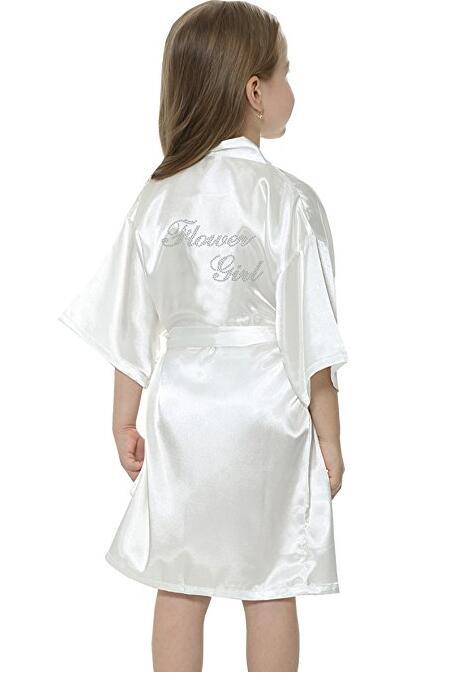 Fashion Kid Flower Girl Wedding Party Mini Bride Bridal Satin Solid Bath Robe Yukata Rayon Silk Sexy Sleepwear Children Dressi
