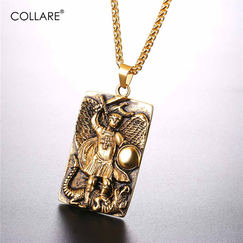 Collare st michael pendants men tags goldblack color jewelry collare st michael pendants men tags goldblack color jewelry stainless steel taxiarch archangel michael necklaces women p087 in chain necklaces from aloadofball Images