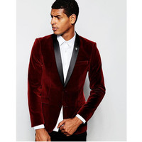 New Mens Suits 2 Piece Mens Velvet Fabric Wedding Suits Groom Tuxedos Bridegroom Suits Custom