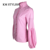 2018 Spring New Women Fashion Plaid Turtleneck Lantern Sleeve Slim Casual Shirt For Female Top Blouse