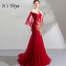 Its YiiYa Evening Dress Embroidery Boat Neck Formal Prom DressesTrumpet Dresses Gold Lace Court Train Wine Red Party Gown E153