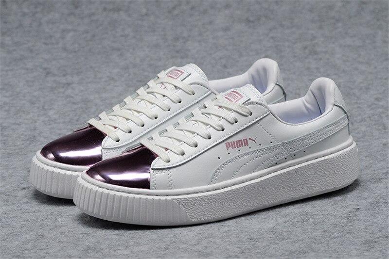2018 New PUMA Unisex Basket Platform Metallic Sneaker  Rihanna classic color tone simple Badminton Shoes Size 35.5-44