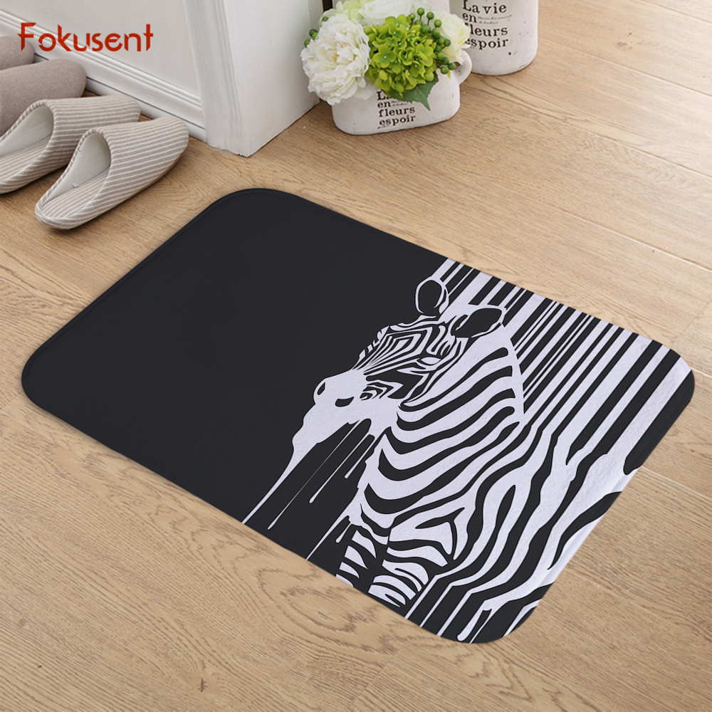 FOKUSENT Animal Zebra Striped Swan Bird Love Heart Indoor Flannel Door Floor Mat Carpets Rug Tapete Gifts for Pets
