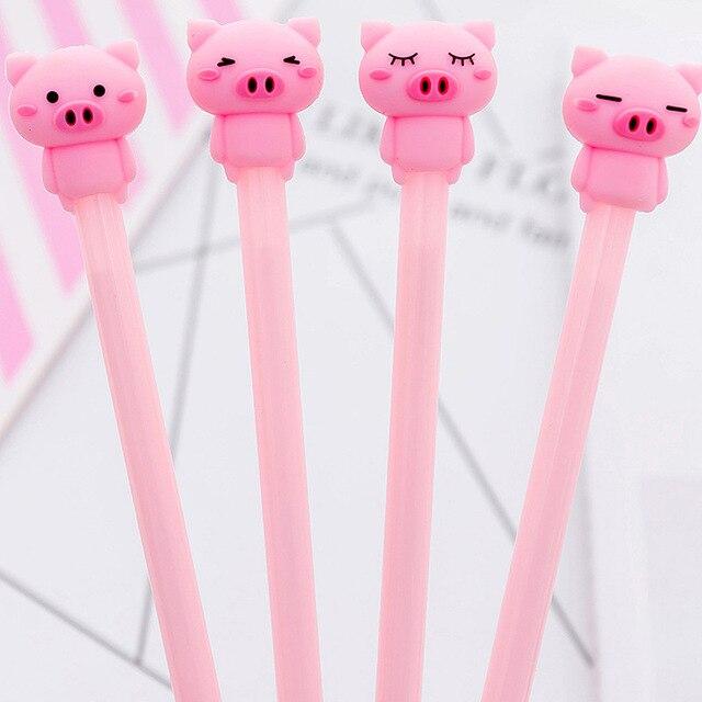 Bonito Dos Desenhos Animados Rosa Animal Emoji Pig Gel Caneta Para Escrita Kawaii Material Escolar Papelaria Estudante de Tinta Preto 0.38mm Atacado