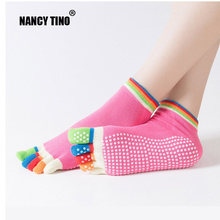 NANCY TINO Women Yoga Socks For Pilates Fitness Breathable Message Sports Sock Five Toe Non Slip Sole Grip Cotton Ankle