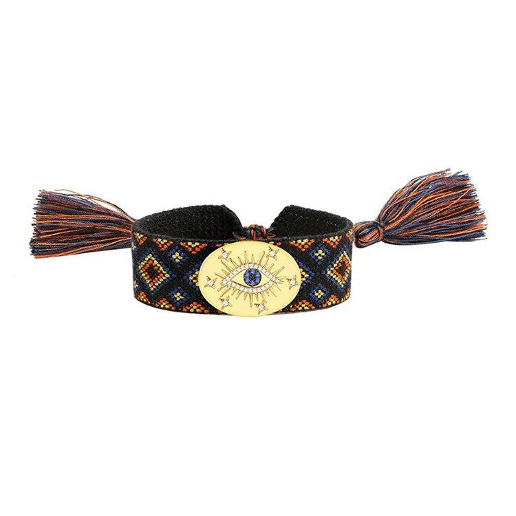 Nouveauté à lacets gland coton Bracelet 925 en argent Sterling étiquette de charme pour les yeux tissés bracelets célèbres bijoux de broderie