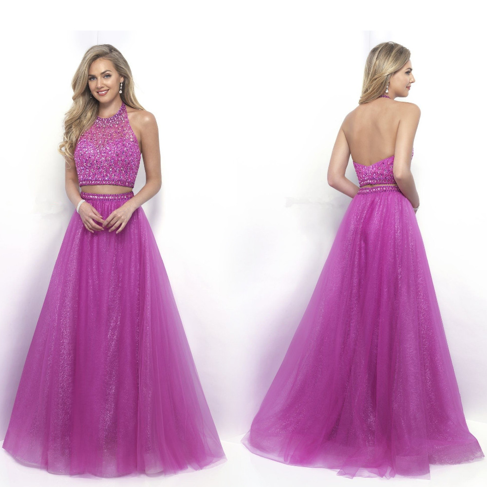 Purple Halter Galajurken 2 piece Prom Dresses Long 2017 Robe de bal ...
