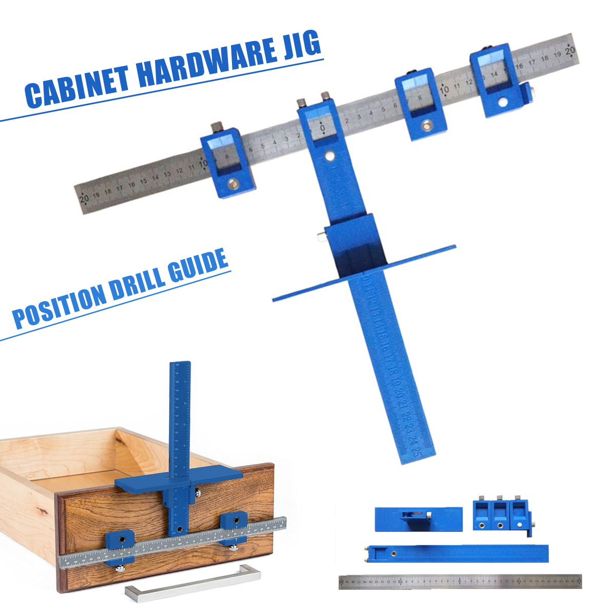 1Set Drill Guide Sleeve Cabinet Hardware Jig Drawer Pull Jig Wood Drilling Dowelling Hole Saw Master System Drill Bit Power Tool 1set home power tool 50mm concrete cement wall hole saw set drill bit connecting rod wrench power tools tile tool