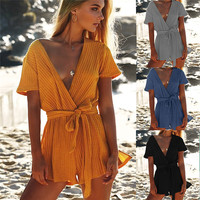 2017 Sexy Bodysuit Casual Female Rompers Women Sexy Deep V Neck Knitted Playsuits Autumn Winter Short