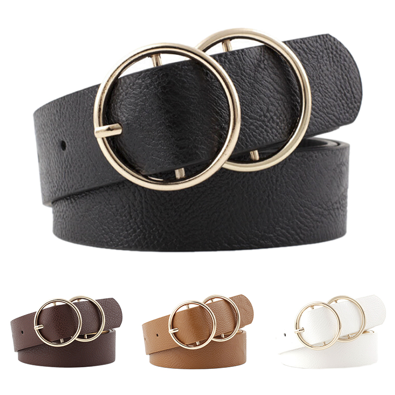 Women Faux Leather Belt Double Ring Round Circle Buckle Circle Belts Hot Brand Fashion Punk O Ring For Women Belt