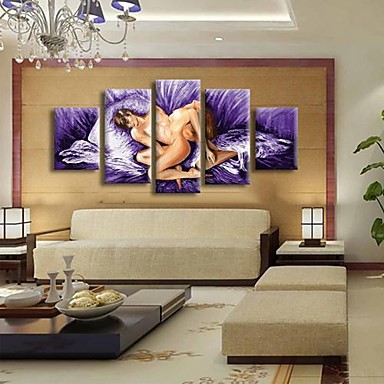 Wall Art For Men hand painted 5 panels naked men and women paintings modern