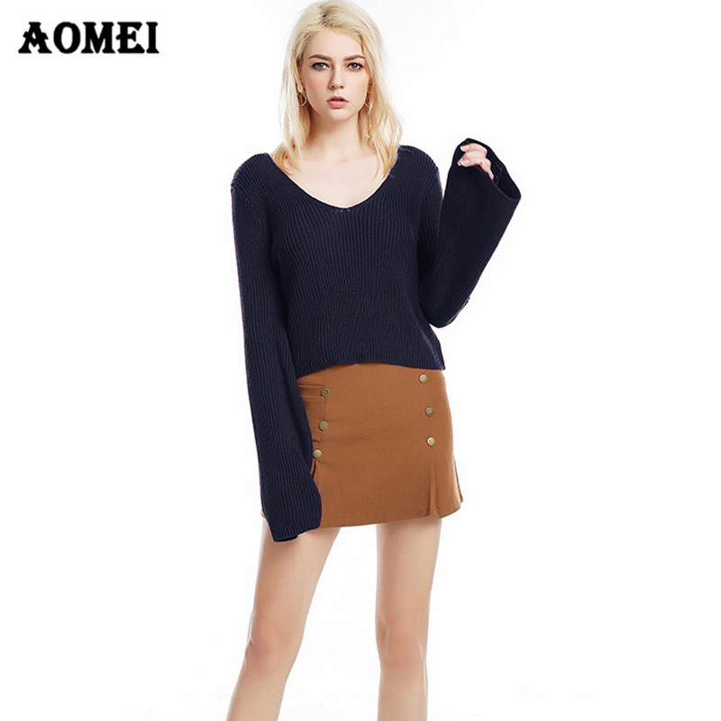 Black Gray Sexy V Neck Jumper For Women 2019 Fall Knitted -7668