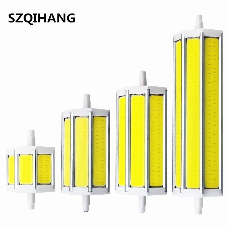 85 265v r7s led lamp 78mm 118mm 135mm 189mm 9w 13w 15w 20w dimmable cob led bulb replace halogen for R7s led 118mm 20w