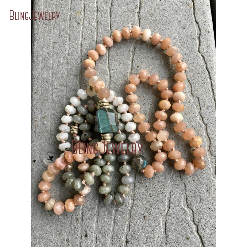 Custom Necklace Long Layering Labradorite, Sunstone and Moonstone Beads Hand Knoted Necklace NM23952